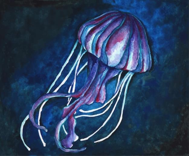 Medusa sott'acqua con luci illustrazione dell'acquerello della vita sottomarina