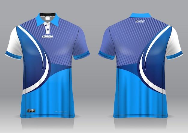 Maglia da golf, vista frontale e posteriore, dal design sportivo e pronta per essere stampata su tessuto e texlite