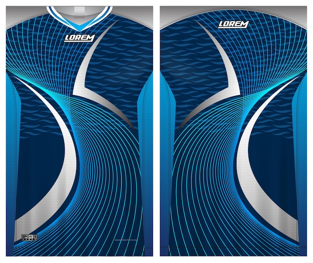 Maglia da calcio sportiva, tessuto modello vista anteriore e posteriore uniforme