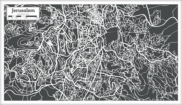 Mappa della città di gerusalemme israele in stile retrò. illustrazione di vettore. mappa di contorno.