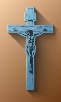 Gesù cristo, crocifisso, benedizione, croce, cristianesimo, vettore