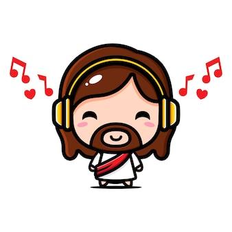 Gesù cristo carino ascoltando musica