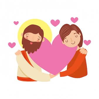 Gesù cristo e una ragazza.