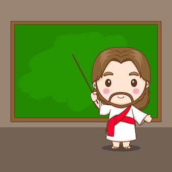 Gesù cristo che insegna davanti all'illustrazione del personaggio dei cartoni animati di chibi della lavagna