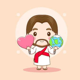 Gesù cristo con la terra e amore cuore chibi personaggio dei cartoni animati illustrazione