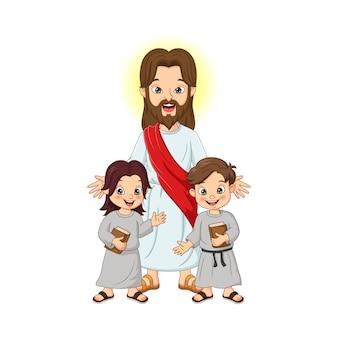 Gesù cristo con i bambini e il libro sacro della bibbia