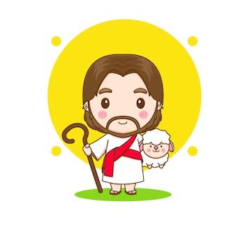 Illustrazione del personaggio dei cartoni animati di gesù cristo con la pecora chibi