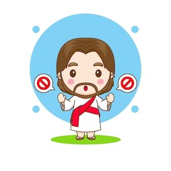 Gesù cristo con l'illustrazione del personaggio dei cartoni animati di chibi della mano di arresto