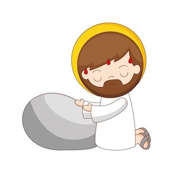 Gesù nel giardino degli ulivi cartone animato isolato su sfondo bianco. illustrazione vettoriale
