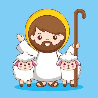 Gesù con il bastone da passeggio e le pecore, illustrazione del fumetto Vettore Premium