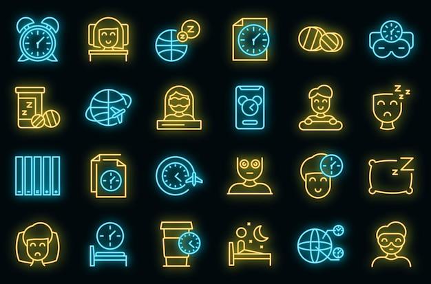 Le icone del jet lag hanno impostato il vettore neon