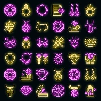 Set di icone di gioielliere. contorno set di icone vettoriali gioielliere colore neon su nero