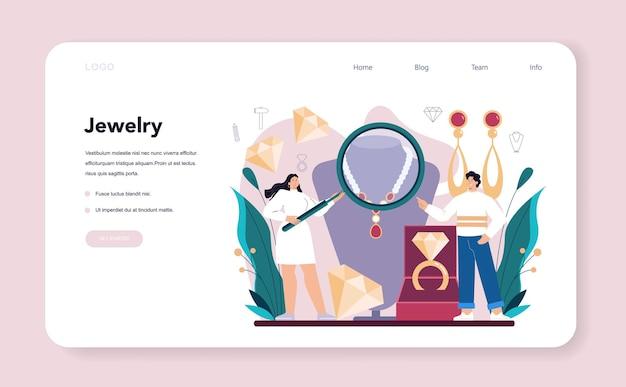 Esame dell'orafo di banner web del gioielliere o pagina di destinazione
