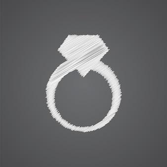 Icona di doodle di logo di schizzo di anello di gioielli isolato su sfondo scuro