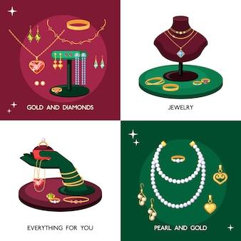 Insieme dell'illustrazione degli accessori dei gioielli. gioielli costosi realizzati in oro e pietre preziose, collane con perle, eleganti tesori vintage, collana di topazi con smeraldi e zaffiri.
