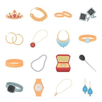 Icona stabilita del fumetto dei gioielli. gioielli di moda illustrazione. set di gioielli isolato icona gioielli in oro.