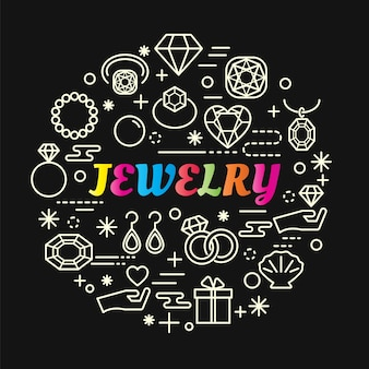 Gradiente di gioielli colorati con set di icone di linea