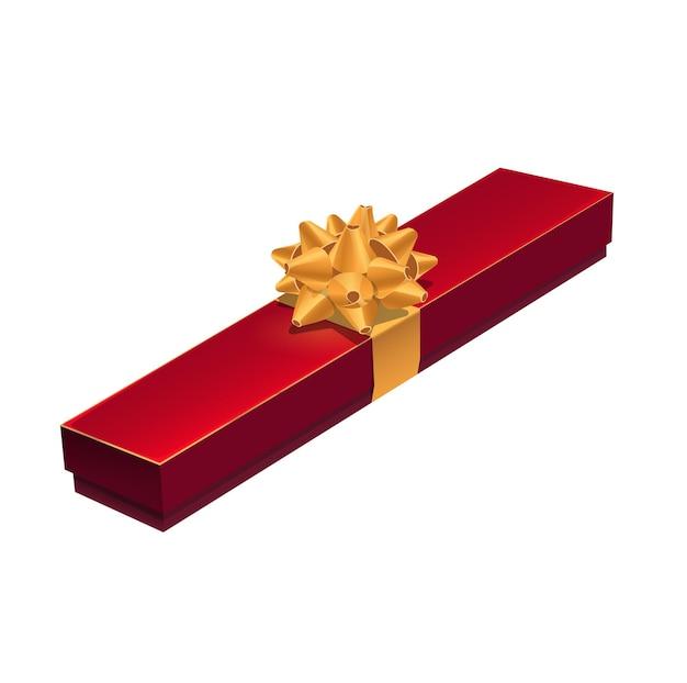 Confezione regalo gioielli, custodia rossa presente con papillon dorato, vettore. confezione regalo per collana di gioielli o velluto rosso con nastro d'oro, pacchetto regalo di compleanno o matrimonio e festa di san valentino