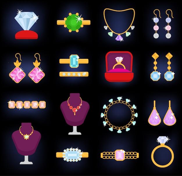 Gli orecchini della collana del braccialetto dell'oro dei gioielli e gli anelli d'argento con gli accessori del gioiello dei diamanti hanno messo l'illustrazione isolata su fondo bianco