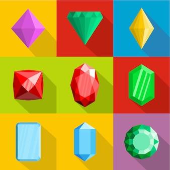 Set di icone di gioielli. set piatto di 9 icone vettoriali di gioielli