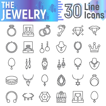 Insieme dell'icona di linea di gioielli, collezione di simboli accessori,