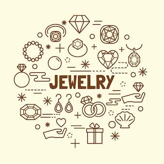 Set di icone minimal linea sottile gioielli