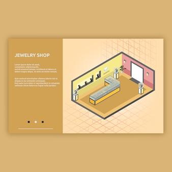 Illustrazione interna isometrica del negozio di gioielli