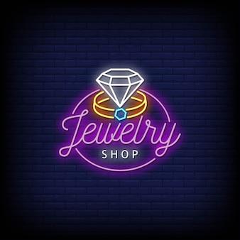 Insegne al neon di logo del negozio di gioielli