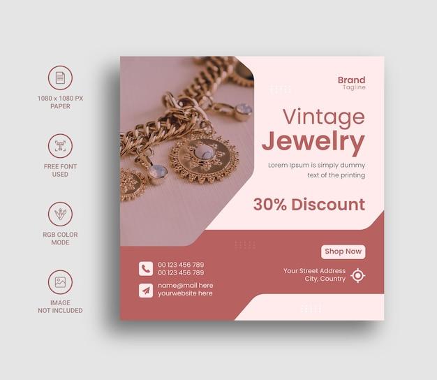 Progettazione di post o banner sui social media di gioielli