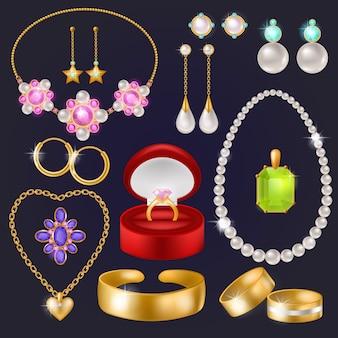 Gli orecchini e gli anelli d'argento della collana del braccialetto dell'oro dei gioielli di vettore dei gioielli con i diamanti hanno messo l'illustrazione degli accessori del gioiello della donna isolati
