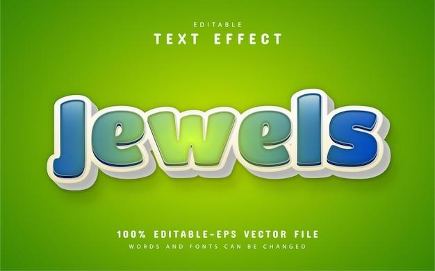 Testo di gioielli, effetto di testo in stile cartone animato