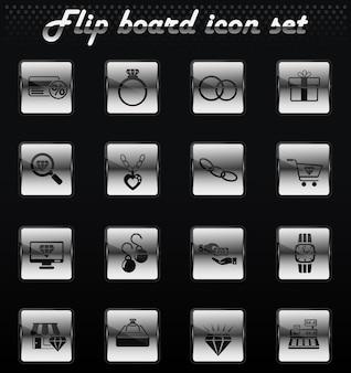 Negozio di gioielleria icone meccaniche flip vettoriale per la progettazione dell'interfaccia utente