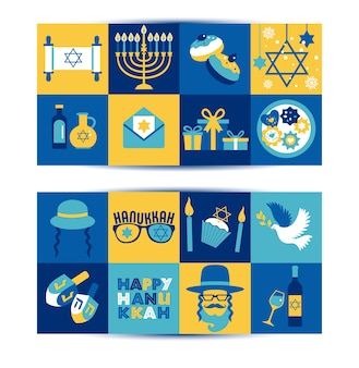 Le bandiere di saluto di hanukkah di festa ebraica hanno impostato i simboli tradizionali di chanukah - candele di menorah, stella