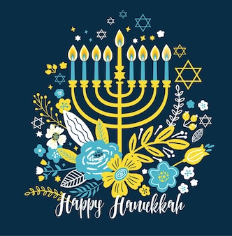 Simboli tradizionali di chanukah della cartolina d'auguri di hanukkah di festa ebraica