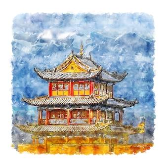 Illustrazione disegnata a mano dell'acquerello della grande muraglia cinese di jiayuguan