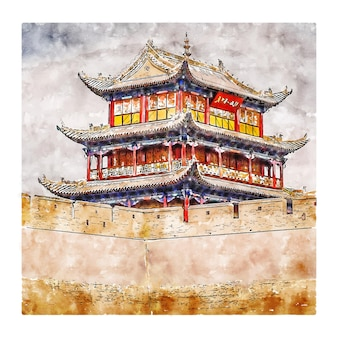 Illustrazione disegnata a mano di schizzo dell'acquerello della cina del passaggio di jiayuguan