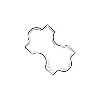 Jig saw pezzo di puzzle icona di doodle di contorni disegnati a mano. puzzle del sistema digitale, concetto di soluzione aziendale. illustrazione di schizzo vettoriale per stampa, web, mobile e infografica su sfondo bianco.