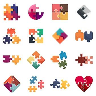 Set di icone di puzzle. set piatto di icone vettoriali puzzle isolato su sfondo bianco