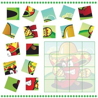 Jigsaw puzzle gioco per bambini con pepe