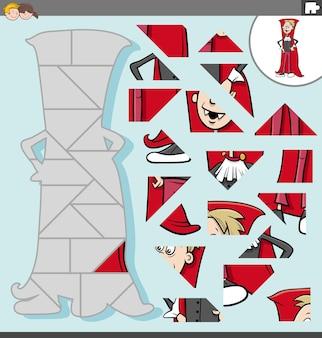 Gioco di puzzle per bambini con il personaggio di un ragazzo vampiro spettrale