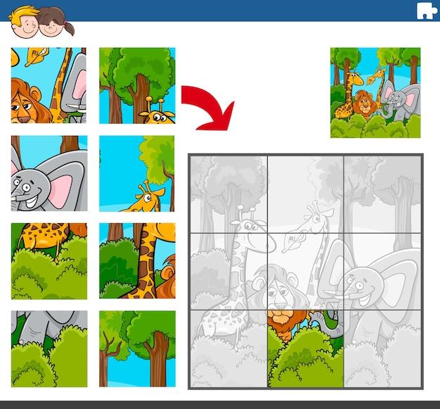 Gioco di puzzle con personaggi comici di animali selvatici