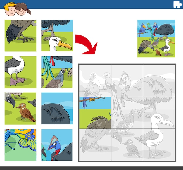 Gioco di puzzle con divertenti personaggi animali uccelli