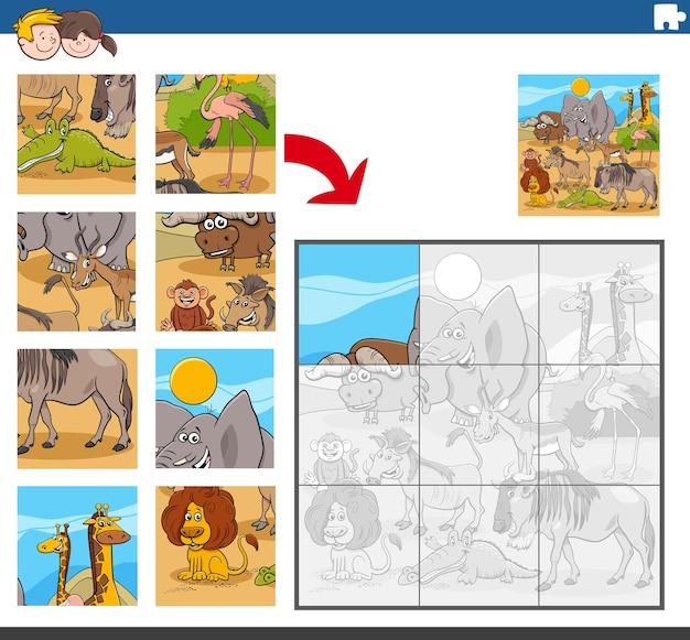 Gioco di puzzle con animali selvatici