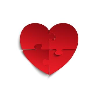 Pezzi di un puzzle a forma di cuore rosso, su sfondo bianco. illustrazione.