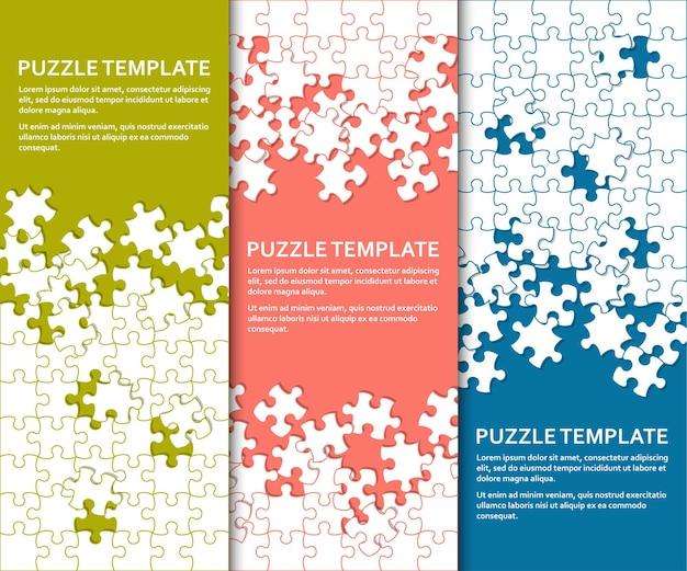 Jigsaw puzzle impostato con molti pezzi colorati modello astratto mosaico