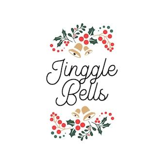 Jinggle bells lettering citazioni tipografiche con ornamenti floreali