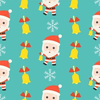 Jingle bell santa, tema natale modello senza soluzione di continuità, per uso come carta da parati e avvolgimento pap
