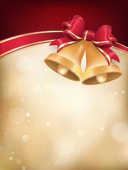 Campane di tintinnio con fiocco di nastro rosso su sfondo festivo.