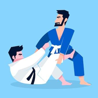 Atleti di jiu-jitsu che combattono
