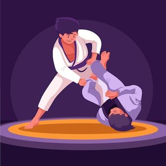 Jiu jitsu in posizione di combattimento
